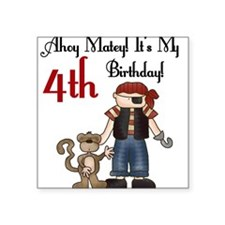 Pirate Party 4th Birthday Square Sticker