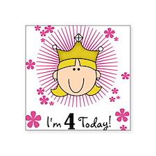Princess 4th Birthday(blond) Square Sticker