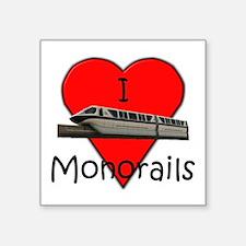 """""""I Love Monorails"""" Square Sticker"""
