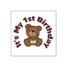 Teddy Bear 1st Birthday Square Sticker