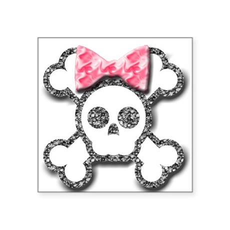 Girl Skull and Crossbones Pink Bow Square Sticker