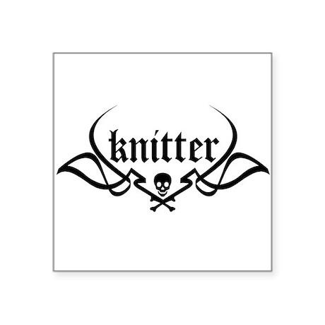 Knitter - skull pinstriping Square Sticker