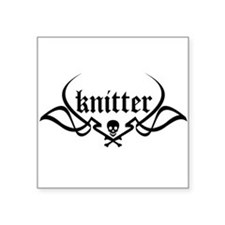 Knitter - skull pinstriping Square Sticker