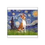 Starry Night & Basenji Square Sticker 3
