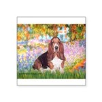 Basset in the Garden Square Sticker 3