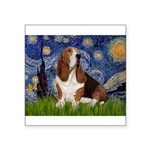 Starry Night & Basset Square Sticker 3