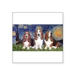 Starry Basset Square Sticker 3