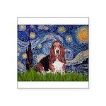 Starry / Basset Hound Square Sticker 3