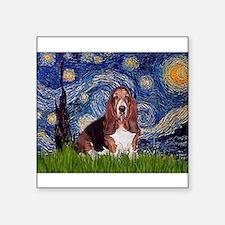 """Starry / Basset Hound Square Sticker 3"""" x 3"""""""