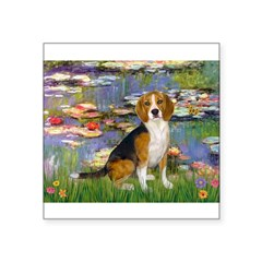 Lilies (#2) - Beagle #7 Square Sticker 3