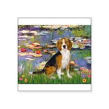 "Lilies (#2) - Beagle #7 Square Sticker 3"" x 3"""
