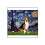 Starry Night & Beagle Square Sticker 3