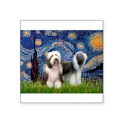 """Starry / 2 Bearded Collies Square Sticker 3"""" x 3"""""""