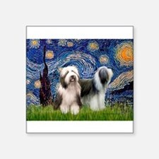 "Starry / 2 Bearded Collies Square Sticker 3"" x 3"""