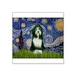 Starry Night /Bearded Collie Square Sticker 3