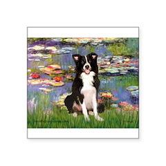 "Lilies & Border Collie Square Sticker 3"" x 3"""