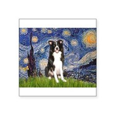 "Starry Night Border Collie Square Sticker 3"" x 3"""