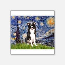 "Starry Night Border Collie Square Sticker 3"" x 3"""