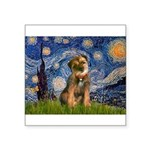 Starry Night / Border Terrier Square Sticker 3
