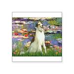 Borzoi in Monet's Lilies Square Sticker 3