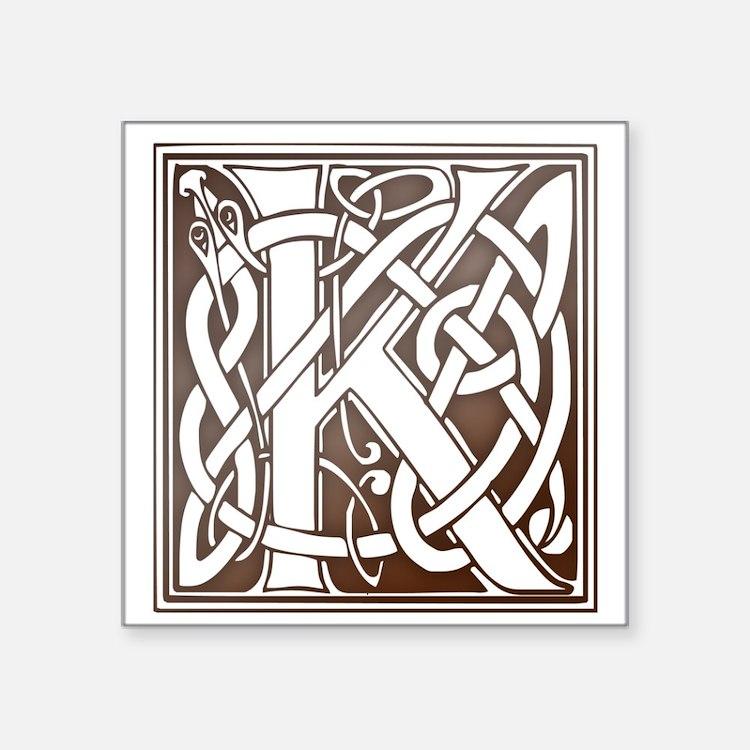 Celtic Letter K Square Sticker