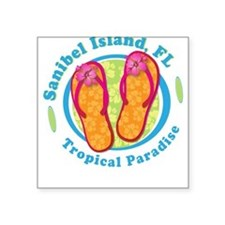 Sanibel Island - Flip Flops Square Sticker