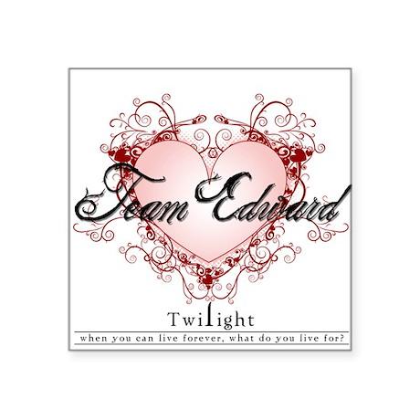 Team Edward Heart Square Sticker