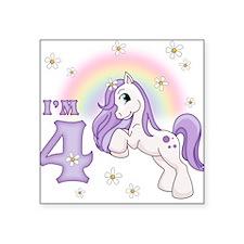 Pretty Pony 4th Birthday Square Sticker