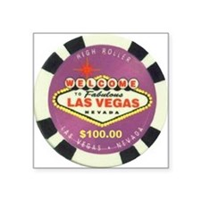 Las Vegas Poker Chip Square Sticker