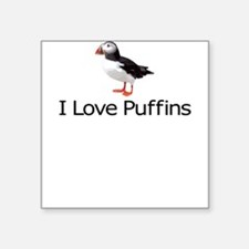 I Love Puffins Square Sticker