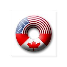 USA - Canada Square Sticker
