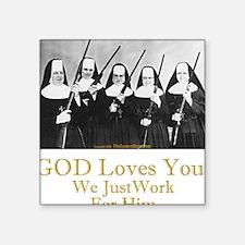 God Loves You Square Sticker