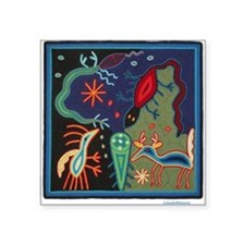 Huichol Art: 'Lizard Dreams' Unisex Square Sticker