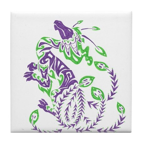 tribal purple dragon Tile Coaster