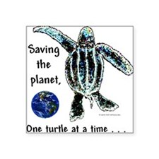 Earth & Sea Turtle Day Square Sticker