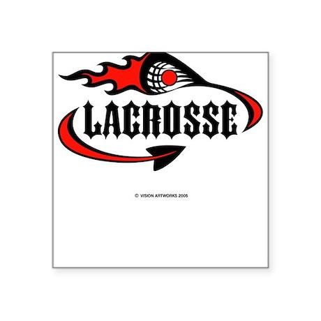 Lacrosse-Flaming Stick Design. Square Sticker