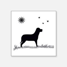Dog With Butterflies Square Sticker