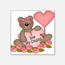 I LOVE My Cousins CUTE Bear Square Sticker