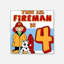 Fireman 4th Birthday Square Sticker