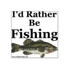 "Kids ""Rather Be Fishing"" Bass Square Sti"