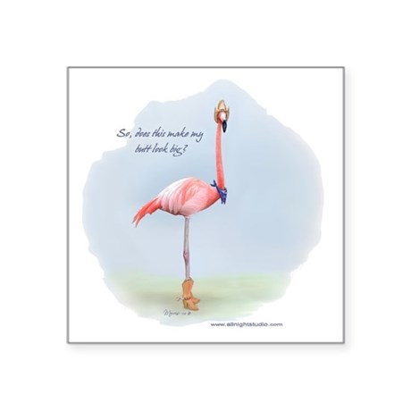 Cowboy Flamingo Square Sticker