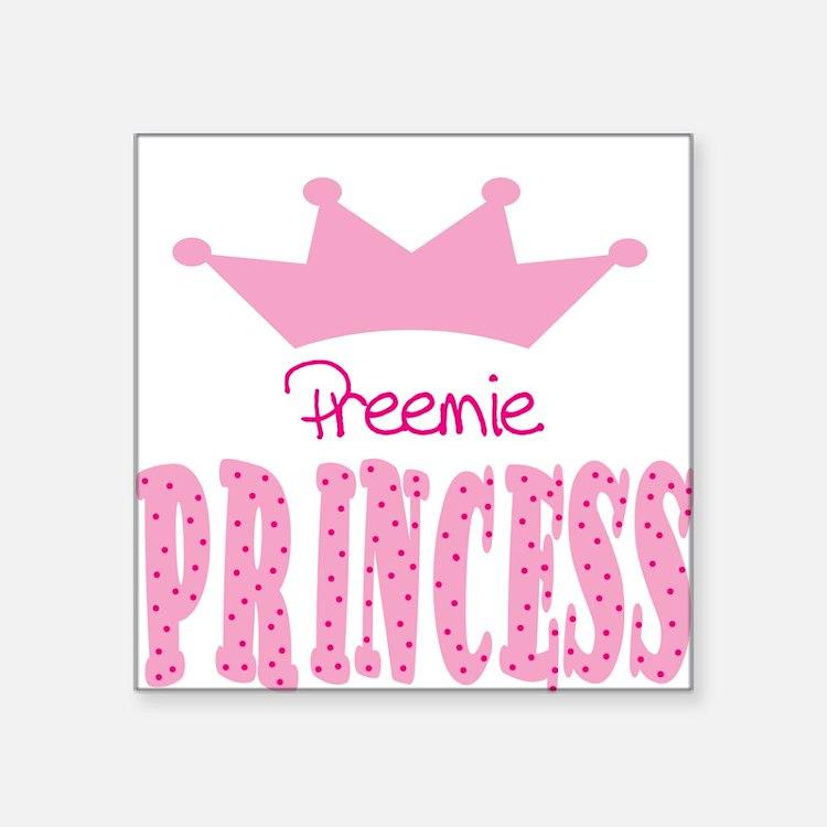 Preemie Princess Baby Square Sticker