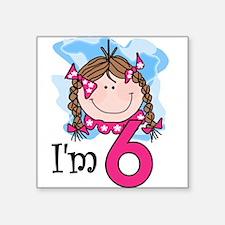 I'm 6 Brunette Girl Square Sticker