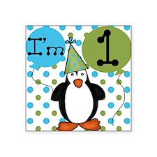 Penguin 1st Birthday Square Sticker