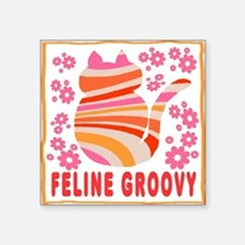 Feline Groovy (orange/pink) Square Sticker