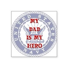 Dad Hero Red, White & Blue Square Sticker