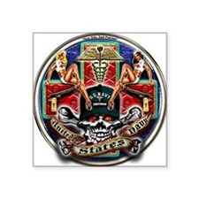 USN Navy Corpsman HM Skull Square Sticker
