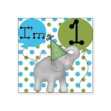 Elephant 1st Birthday Square Sticker