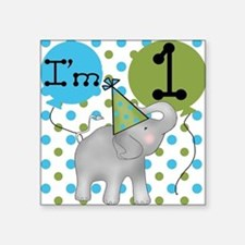 Elephant 1st Birthday Square Sticker