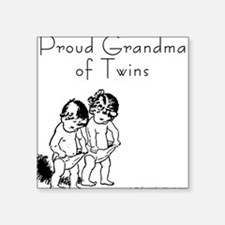 Proud Grandma of Twins BG Square Sticker